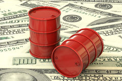 3d illustration: Red barrels of oil lie on the background of dollar money. Petroleum business, black gold, gasoline production. Pu Royalty Free Stock Images