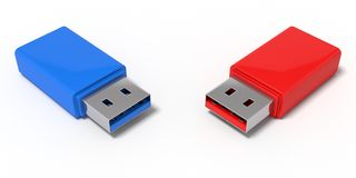 3d illustration of red and blue usb sticks. Isolated on white Royalty Free Stock Photo
