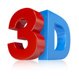 3d illustration in red and blue on white background Stock Images