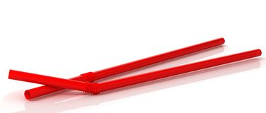 3D Illustration Of Red Cocktail straws. 3D illustration Stock Photography