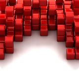 3d illustration of red cubes. Abstract of 3d red cubes, blocks background royalty free illustration