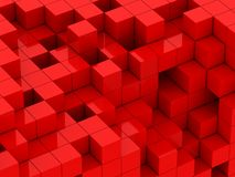 3d illustration of red cubes. Abstract of 3d red cubes, blocks background Stock Illustration