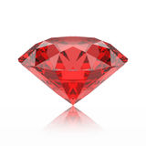 3D illustration red emerald round diamond ruby gemstone with ref. Lection on a grey background Stock Photography