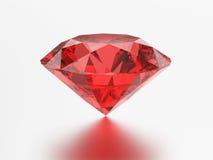 3D illustration red emerald round ruby gemstone with reflection. 3D illustration red emerald round diamond ruby gemstone with reflection on a grey background Royalty Free Stock Photo