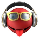 3d red emoticon smile Stock Photo