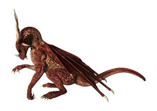3D Illustration Red Fantasy Dragon on White Royalty Free Stock Photos