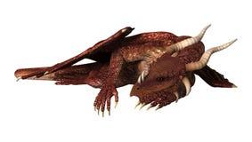 3D Illustration Red Fantasy Dragon on White Royalty Free Stock Image