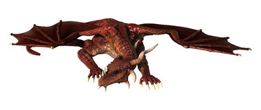 3D Illustration Red Fantasy Dragon on White Stock Photography