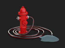 3d Illustration of Red fire hydrant with Fire hose and water, isolated black. 3d Illustration of Red fire hydrant with Fire hose and water. isolated black Stock Images