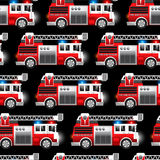 3D illustration of a Red Fire and Rescue truck seamless pattern.  Stock Photography