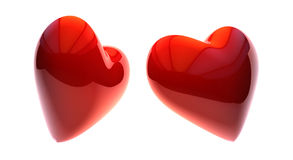 3d illustration of Red heart shape. Love symbol for Valentines day Royalty Free Stock Photo