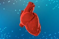 3d illustration of red human heart on futuristic blue background. Digital technologies in medicine royalty free stock photography