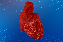3d illustration of red human heart on futuristic blue background. Digital technologies in medicine stock photo