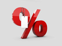 3d Illustration of red Percentage with label, on gray background Royalty Free Stock Images