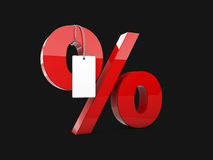 3d Illustration of red Percentage web icon, on black background Stock Images