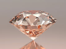 3D illustration red pink round diamond on grey background with reflection Stock Photos