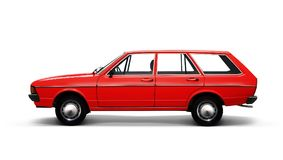 Red retro car on white Royalty Free Stock Photo