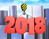 3d crane hook with red 2018 sign. 3d illustration of red 2018 sign with crane hook over city background Royalty Free Stock Photos