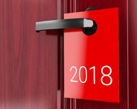 3d 2018 sign on door handle, new year. 3d illustration. 2018 Red sign on the door handle. new year concept Royalty Free Stock Photo