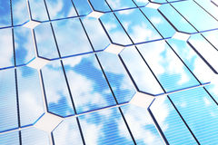 3D illustration reflection of the clouds on the photovoltaic cells. Blue solar panels on grass. Concept alternative. Electricity source. Eco energy, clean Royalty Free Stock Images