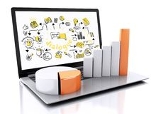 3d Laptop with charts and graph. Business success concept. Isola Royalty Free Stock Image