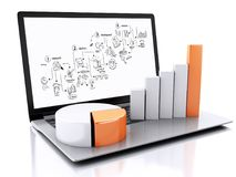 3d Laptop with charts and graph. Business success concept. Isola. 3d illustration render. Laptop with charts and graph. Business success concept. Isolated on Stock Images