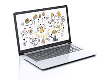 3d Laptop with feedback sketch. 3d illustration render. Laptop with feedback sketch. Isolated on white background Stock Images