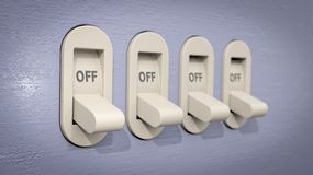 Plastic Light Switches in the OFF position Royalty Free Stock Photos