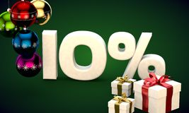 3d illustration rendering of Christmas sale 10 percent discount. 3d illustration of Christmas sale 10 percent discount green Royalty Free Stock Photo