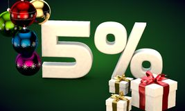 3d illustration rendering of Christmas sale 5 percent discount Stock Photography