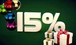 3d illustration rendering of Christmas sale 15 percent discount. 3d illustration of Christmas sale 15 percent discount green Royalty Free Stock Photos