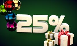 3d illustration rendering of Christmas sale 25 percent discount. 3d illustration of Christmas sale 25 percent discount green Stock Images