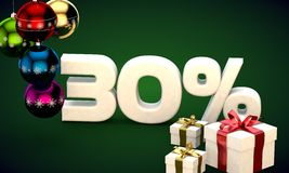 3d illustration rendering of Christmas sale 30 percent discount Stock Images