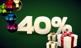 3d illustration rendering of Christmas sale 40 percent discount Stock Photography