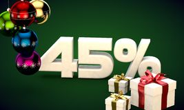 3d illustration rendering of Christmas sale 45 percent discount Stock Photography