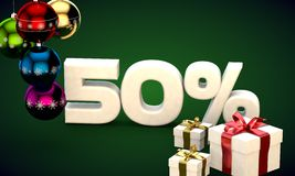 3d illustration rendering of Christmas sale 50 percent discount. 3d illustration of Christmas sale 50 percent discount green Stock Photo