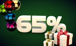 3d illustration rendering of Christmas sale 65 percent discount. 3d illustration of Christmas sale 65 percent discount green Stock Images