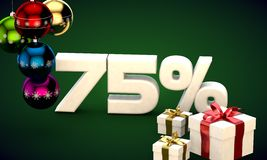 3d illustration rendering of Christmas sale 75 percent discount. 3d illustration of Christmas sale 75 percent discount green Royalty Free Stock Photography