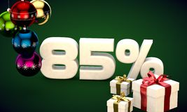 3d illustration rendering of Christmas sale 85 percent discount. 3d illustration of Christmas sale 85 percent discount green Royalty Free Stock Images