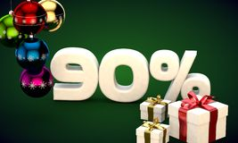 3d illustration rendering of Christmas sale 90 percent discount. 3d illustration of Christmas sale 90 percent discount green royalty free illustration