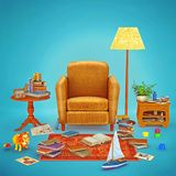 3D illustration rendering living room design. Cozy home  place  interior  to relax   with books, table, toys , armchair and lamp light on empty blue Royalty Free Stock Image