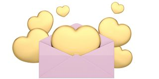 3D; illustration; rendering; love, romantic, mail, message, origami, greePink love mail with hearts isolated on white background. Pink love mail with hearts stock illustration