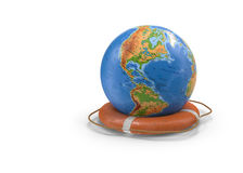 3D illustration of rescue circle and the globe. Stock Photos