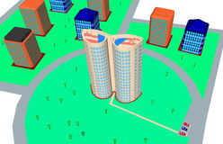 3d illustration - residential buildings. Royalty Free Stock Image