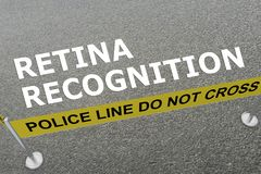 Retina Recognition concept. 3D illustration of RETINA RECOGNITION title on the ground in a police arena Royalty Free Stock Images