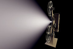 3D illustration of Retro film projector. With light beam on black Royalty Free Stock Photos