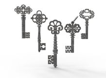 3d illustration of retro vintage keys. White background isolated. icon for game web Stock Photo