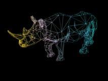 3D illustration of rhinoceros. 3D rendering low polygon lin light rhinoceros on a black background Stock Photos
