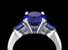 3D illustration of Ring with Diamond. Jewelry background. Fashio Stock Photography