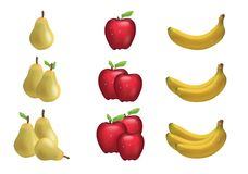 3D illustration of ripe fruit, banana and pear, divided into groups. Realistic set of ripe banana fruit, Apple, pear isolated on white background. Gradient Stock Photography
